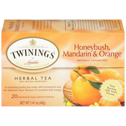Twinings of London Herbal Honeybush Mandarin & Orange Herbal Tea 20 Ct Tea Bags 1.41 Oz    (Pack of 6)