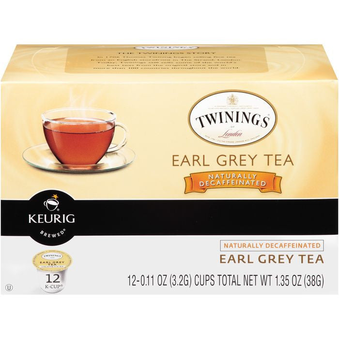 Twinings of London Naturally Decaffeinated Earl Grey Tea K-Cups 12 ct.  (Pack of 6)