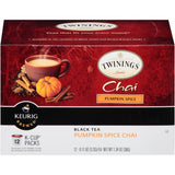 Twinings of London Chia Pumpkin Spice Black Tea K-Cups 12-0.11 Oz Cups (Pack of 6)