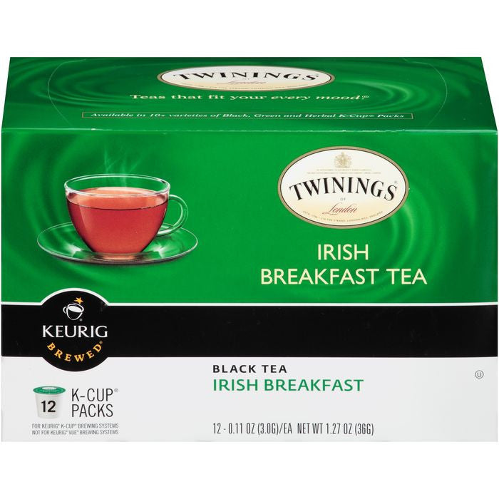 Twinings of London Irish Breakfast Black Tea K-Cup Packs 12-0.11 oz,  (Pack of 6)