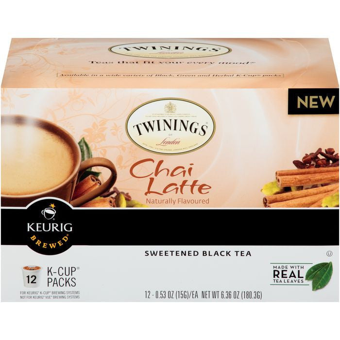 Twinings of London Chai Latte Sweetened Black Tea, 12 K-Cup Packs (Pack of 6)