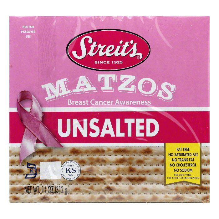 Streits Unsalted Matzo, 11 OZ (Pack of 12)