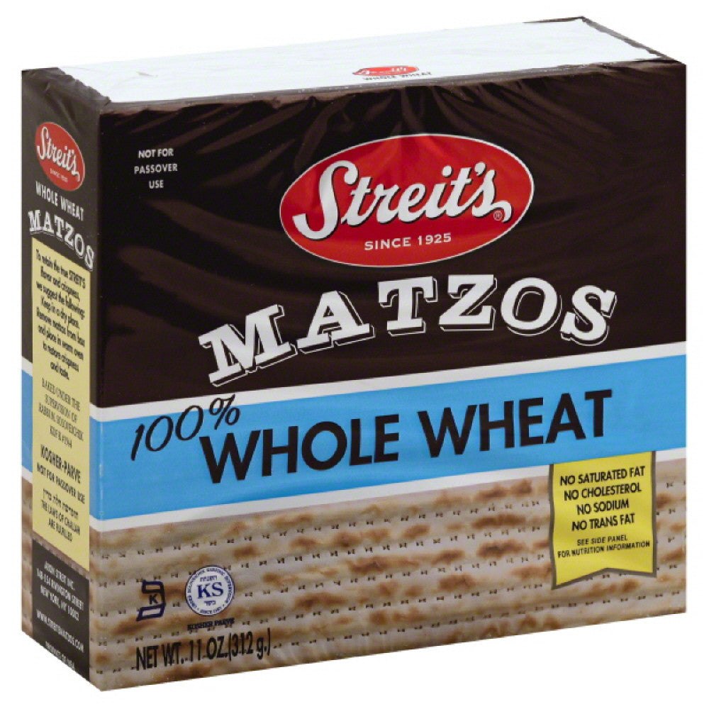 Streits No Salt Added 100% Whole Wheat Matzos, 11 Oz (Pack of 12)