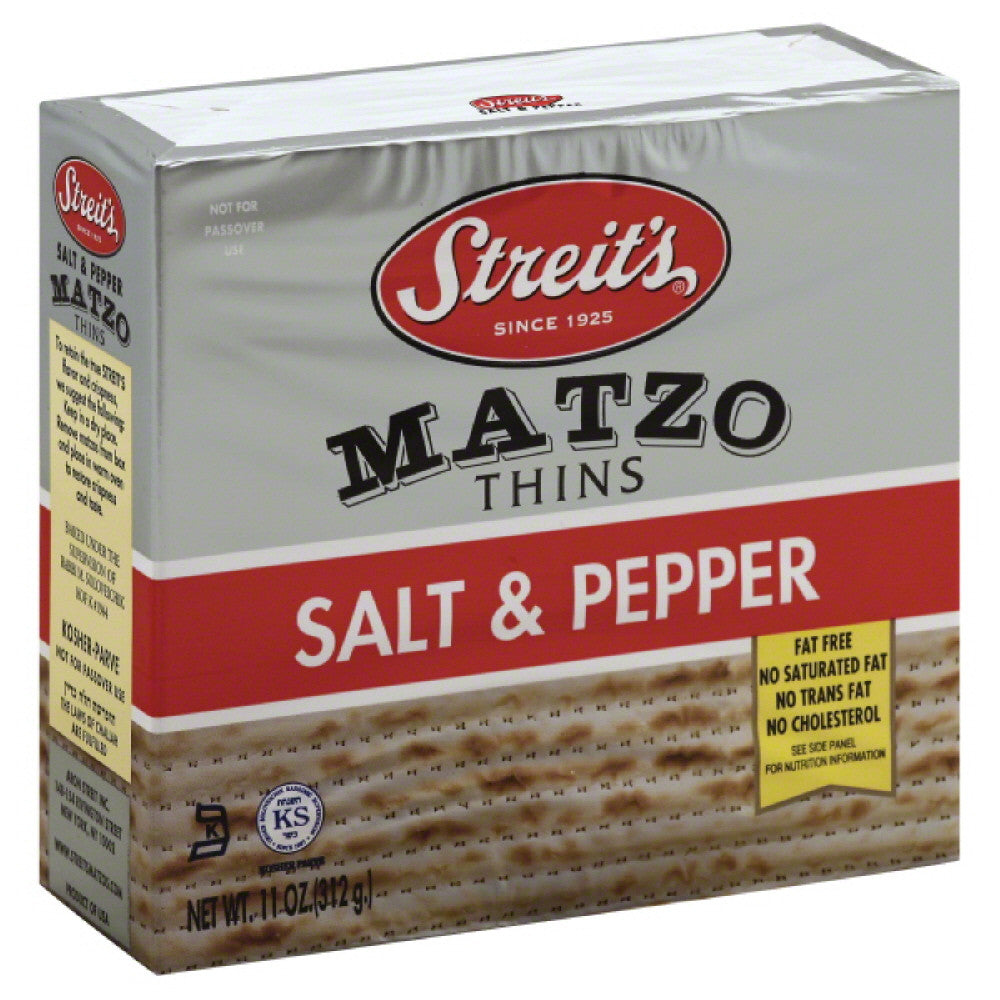 Streits Salt & Pepper Matzo Thins, 11 Oz (Pack of 12)