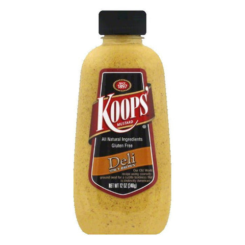 Koops Mustard Deli Spicy Brown, 12 OZ (Pack of 12)
