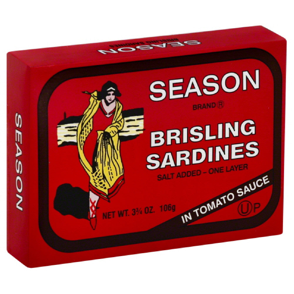 Season Brisling Sardines in Tomato Sauce, 3.75 Oz (Pack of 12)
