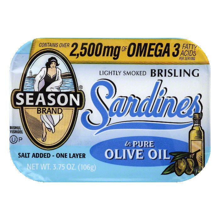 Season in Pure Olive Oil Lightly Smoked Brisling Sardines, 3.75 OZ (Pack of 12)