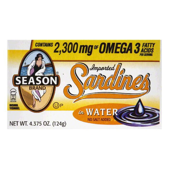 Seasons Club Sardines in Water No Salt Added, 4.375 OZ (Pack of 12)