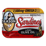 Season in Pure Olive Oil Brisling Cross-Packed Sardines, 3.75 OZ (Pack of 12)