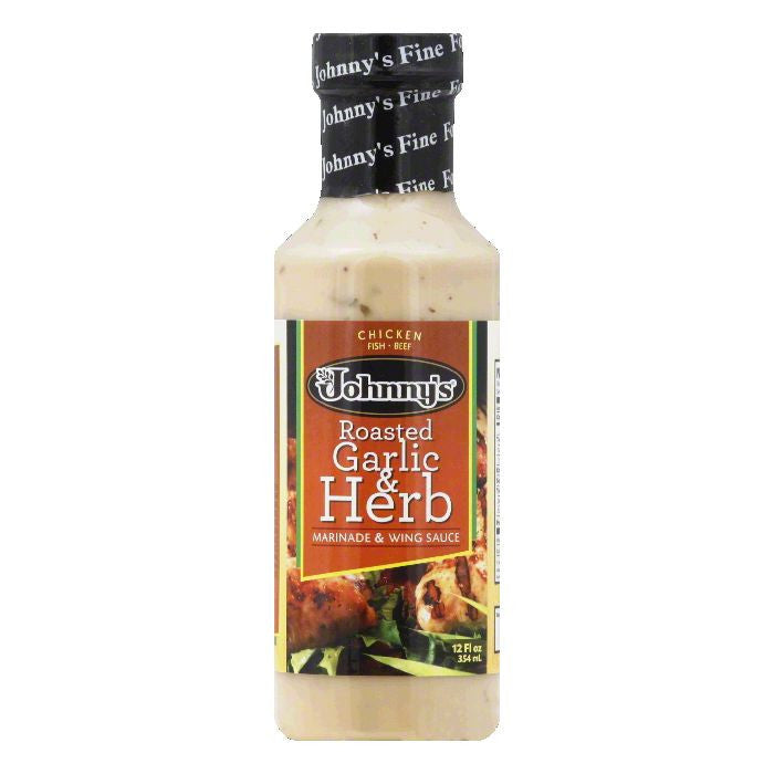 Johnnys Roasted Garlic & Herb Marinade & Wing Sauce, 12 Oz (Pack of 6)
