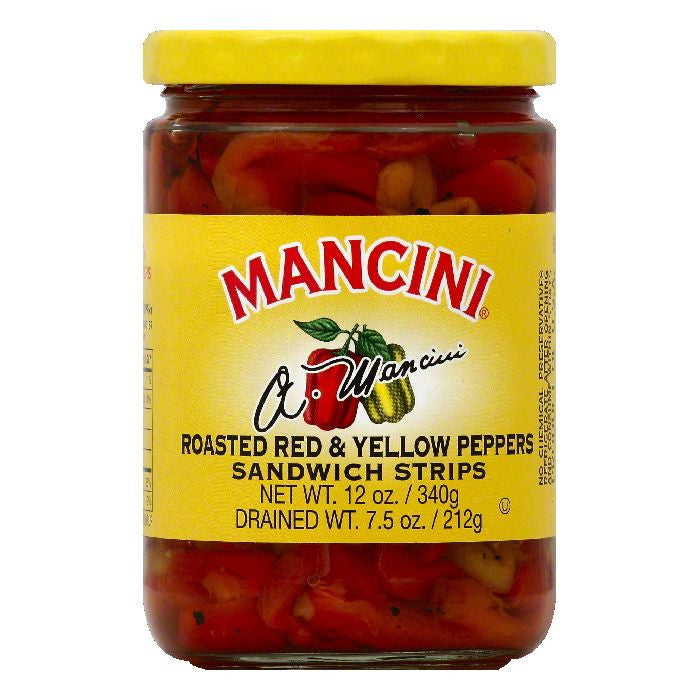 Mancini Sandwich Strips Roasted Red & Yellow Peppers, 12 OZ (Pack of 12)