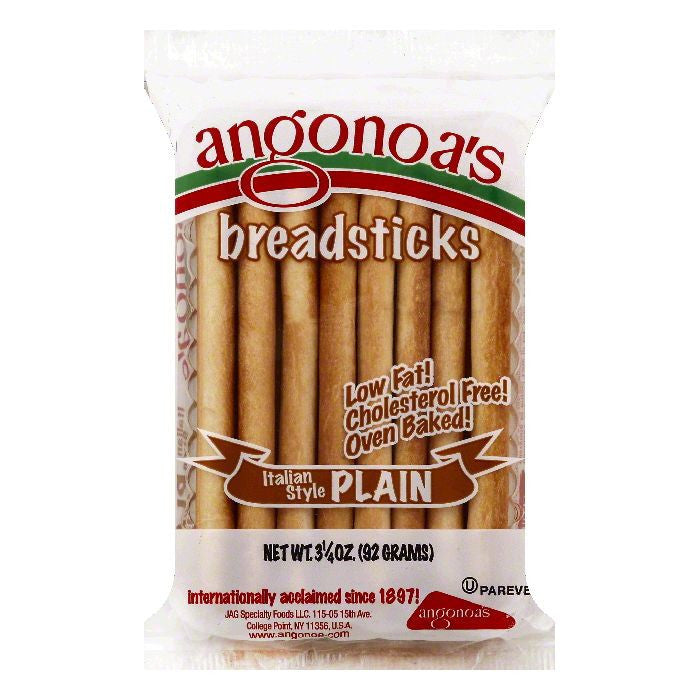 Angonoas Italian Style Plain Breadsticks, 3.25 OZ (Pack of 12)