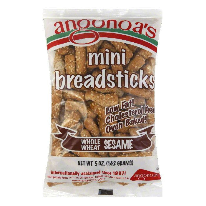 Angonoas Whole Wheat Sesame Mini Breadsticks, 5 Oz (Pack of 12)