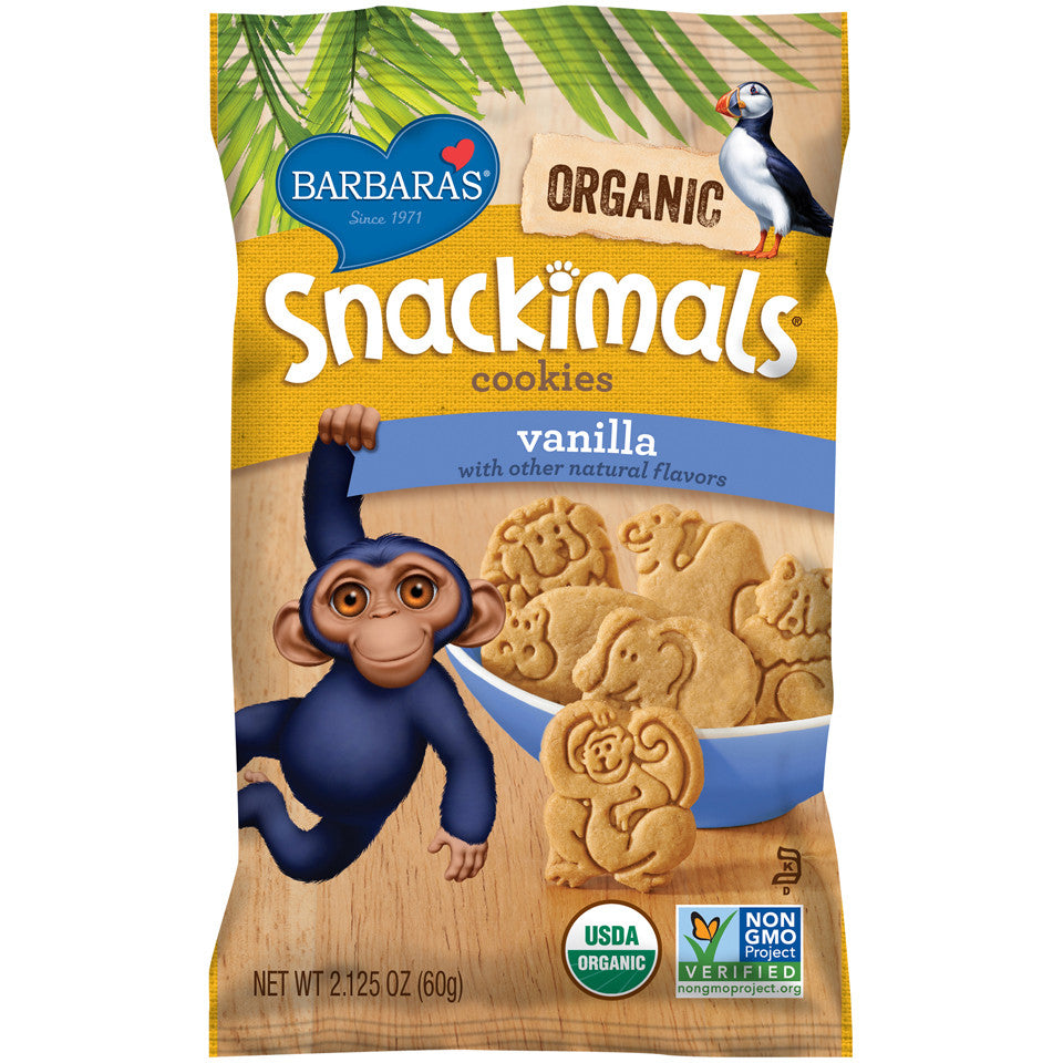 Barbara's Cookie Vanilla Snackimal, 2 OZ (Pack of 18)