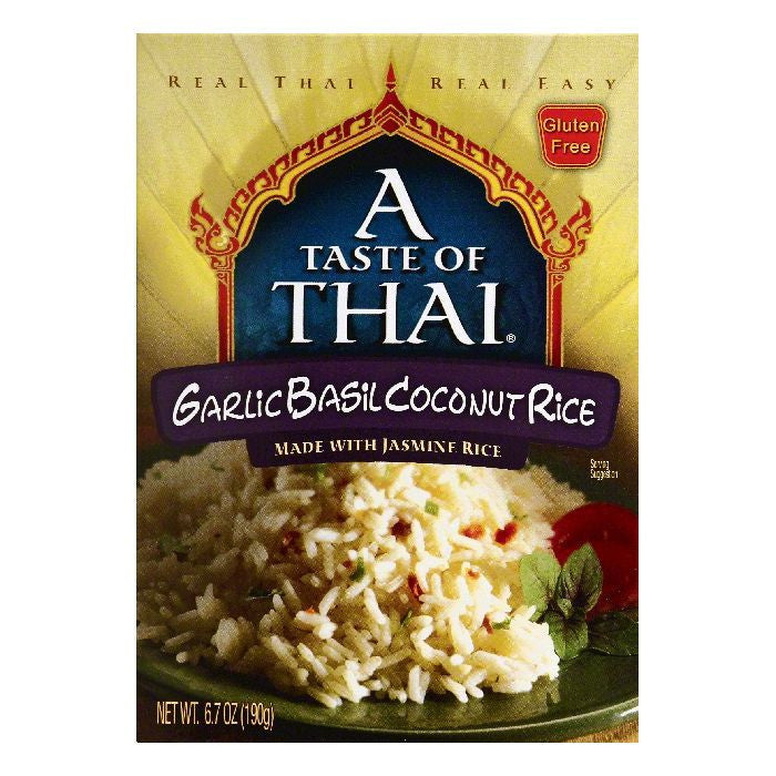 A Taste of Thai Garlic Basil Coconut Rice, 6.7 OZ (Pack of 6)