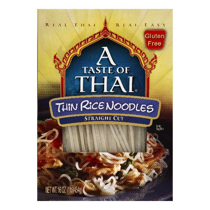 A Taste of Thai Straight Cut Thin Rice Noodles, 16 OZ (Pack of 6)