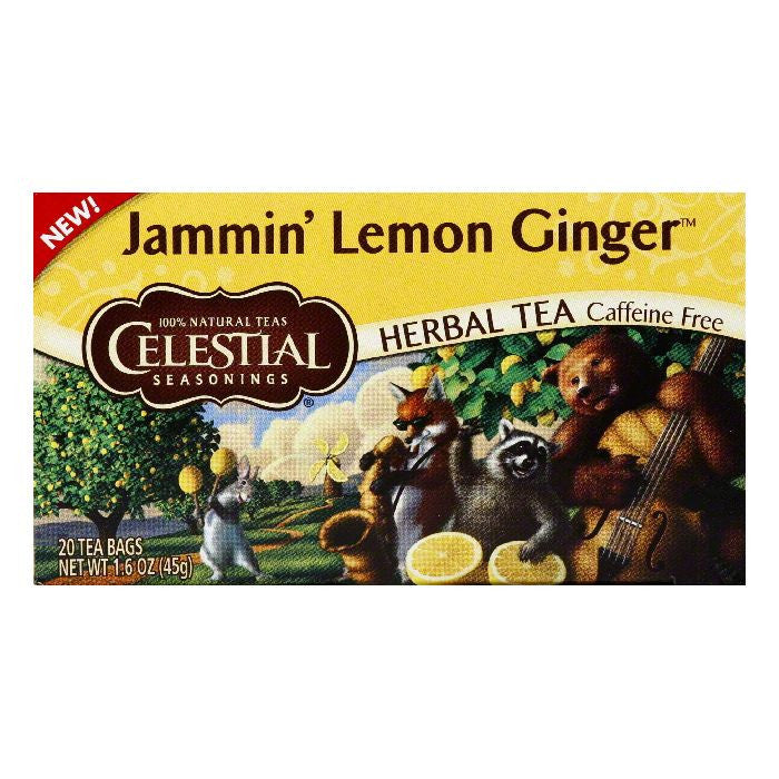 Celestial Seasonings Caffeine Free Jammin' Lemon Ginger Herbal Tea Bags, 20 BG (Pack of 6)