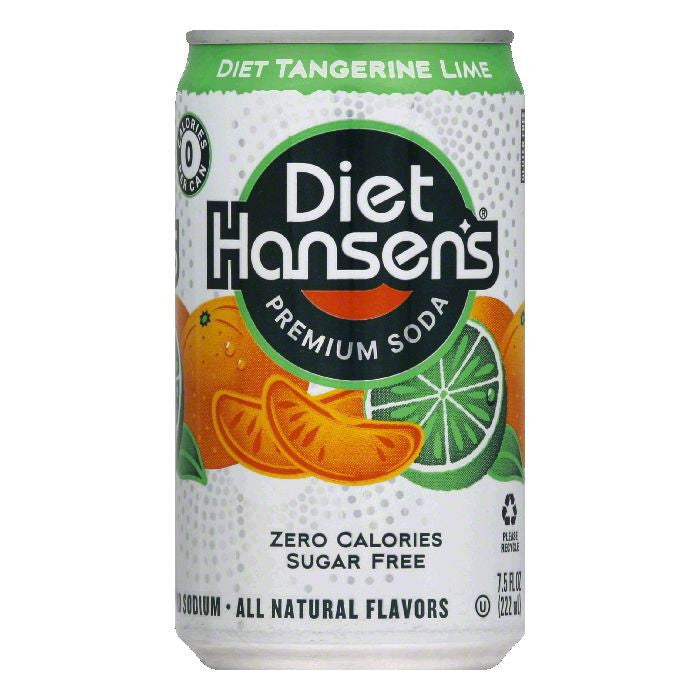 Hansens Diet Tangerine Lime Premium Soda, 7.5 OZ (Pack of 3)