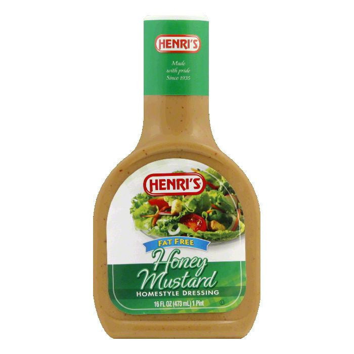 Henri's Fat Free Honey Mustard Dressing, 16 FO (Pack of 6)