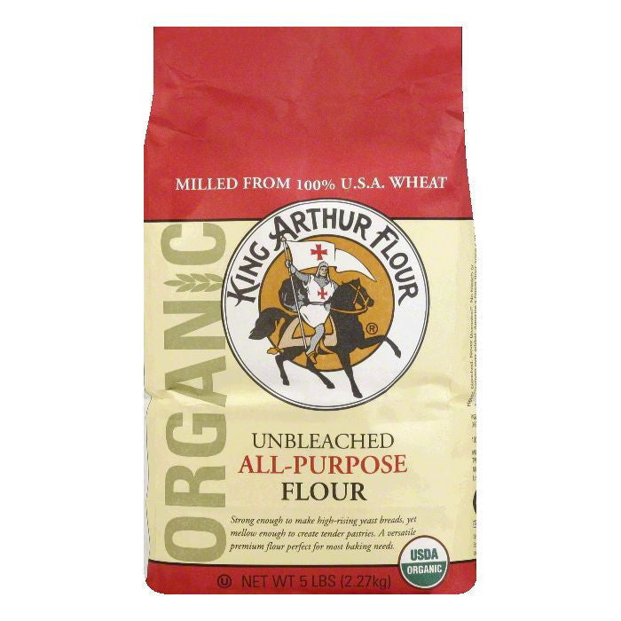 King Arthur Flour All Purpose Flour Artisan Organic, 5 LB (Pack of 6)