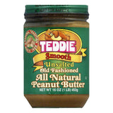 Teddie Unsalted Smooth Old Fashioned Peanut Butter, 16 Oz (Pack of 12)