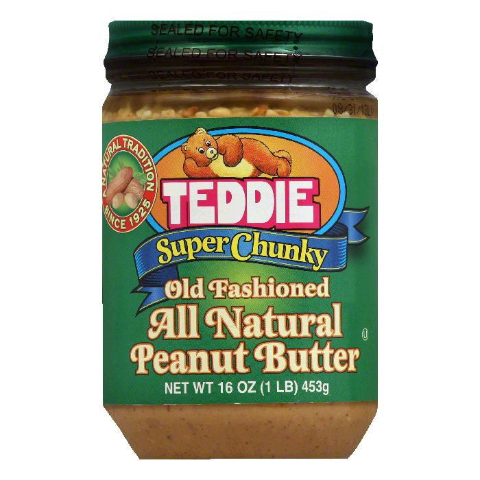 Teddie Super Chunky Old Fashioned Peanut Butter, 16 Oz (Pack of 12)
