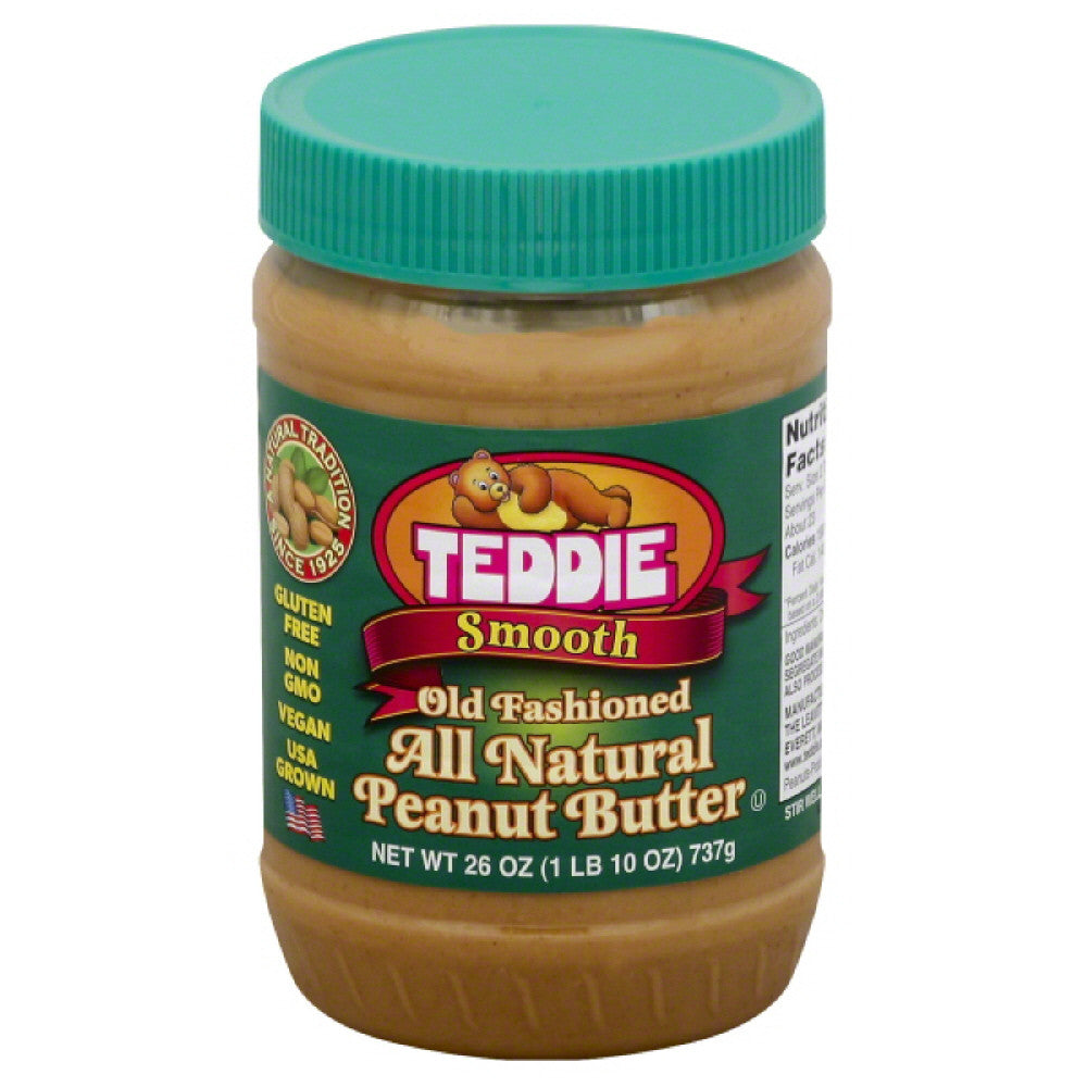 Teddie Smooth Old Fashioned All Natural Peanut Butter, 26 Oz (Pack of 12)