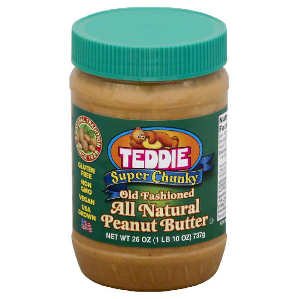 Teddie Super Chunky Old Fashioned All Natural Peanut Butter, 26 Oz (Pack of 12)