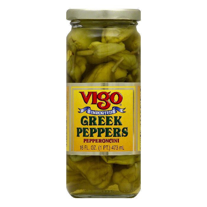 Vigo Peppers Greek, 16 OZ (Pack of 12)
