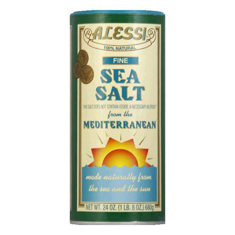 Alessi Sea Salt Fine, 24 OZ (Pack of 6)