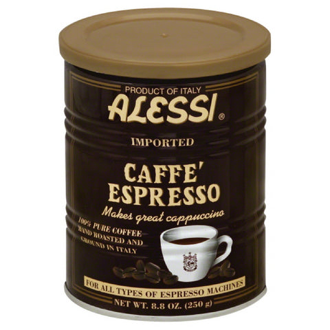 Alessi Cafe Espresso 100% Pure Coffee, 8.8 Fo (Pack of 6)