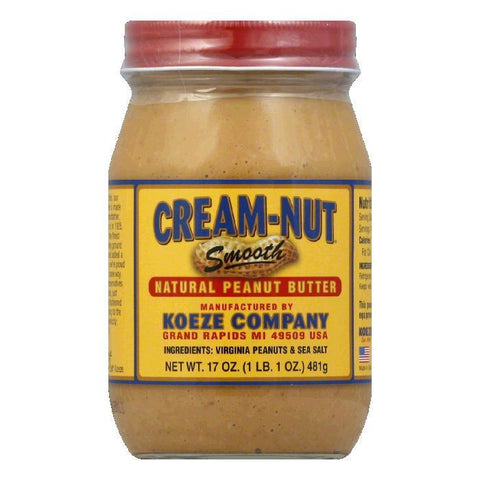 Cream Nut Natural Creamy Peanut Butter, 17 OZ (Pack of 12)