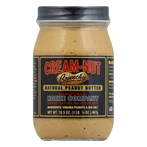 Cream Nut Natural Cruncy Peanut Butter, 16.5 OZ (Pack of 12)