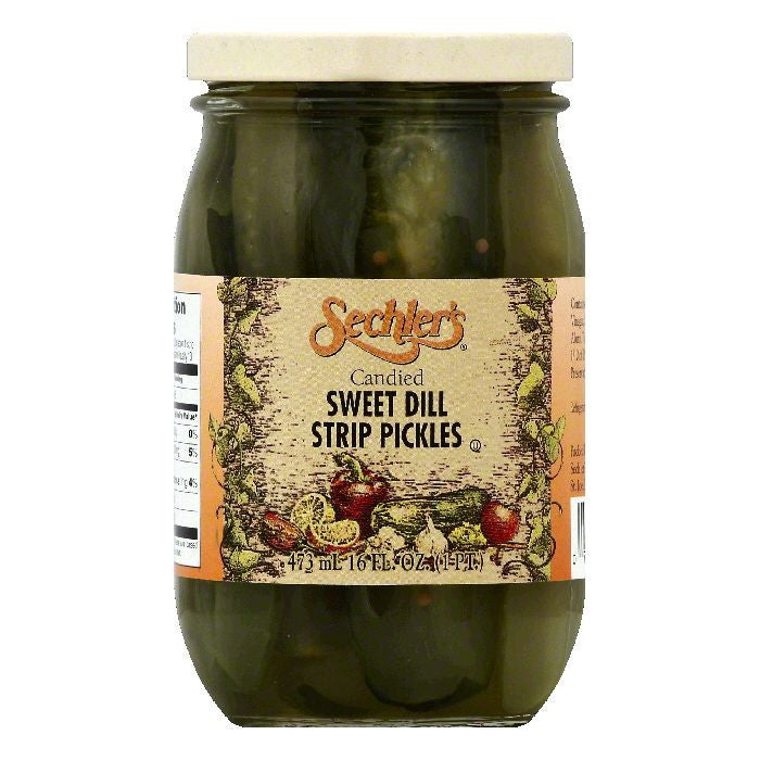 Sechlers Candied Sweet Dill Strip Pickles, 16 OZ (Pack of 6)