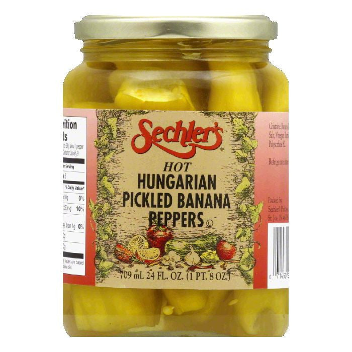 Sechler's Hot Hungarian Peppers Whole, 24 OZ (Pack of 6)