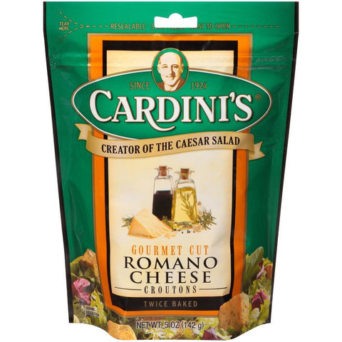 Cardini's Gourmet Cut Romano Cheese Croutons 5 Oz (Pack of 12)