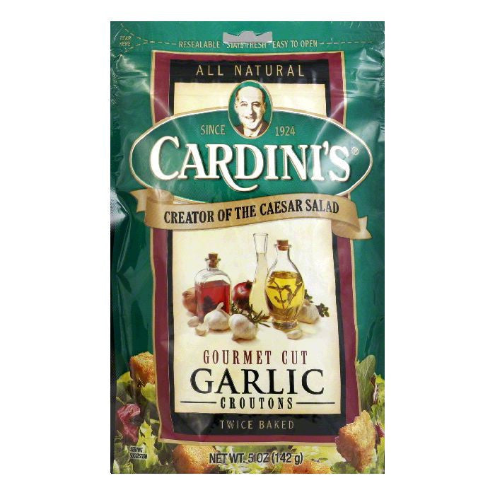Cardini Croutons Garlic Gourmet Cut, 5 OZ (Pack of 12)