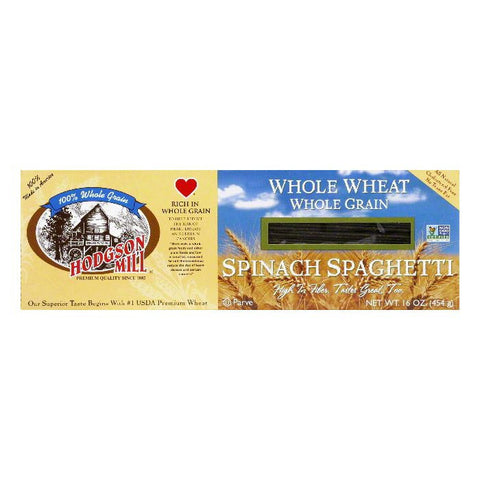 Hodgson Mill Pasta Spaghetti Spinach Whole Wheat, 16 OZ (Pack of 12)
