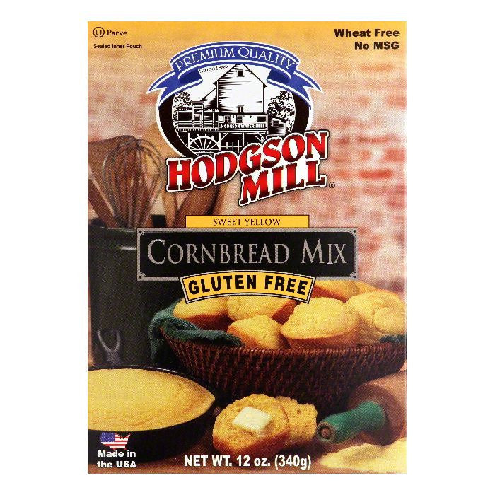 Hodgson Mill Sweet Yellow Gluten Free Cornbread Mix, 12 Oz (Pack of 6)