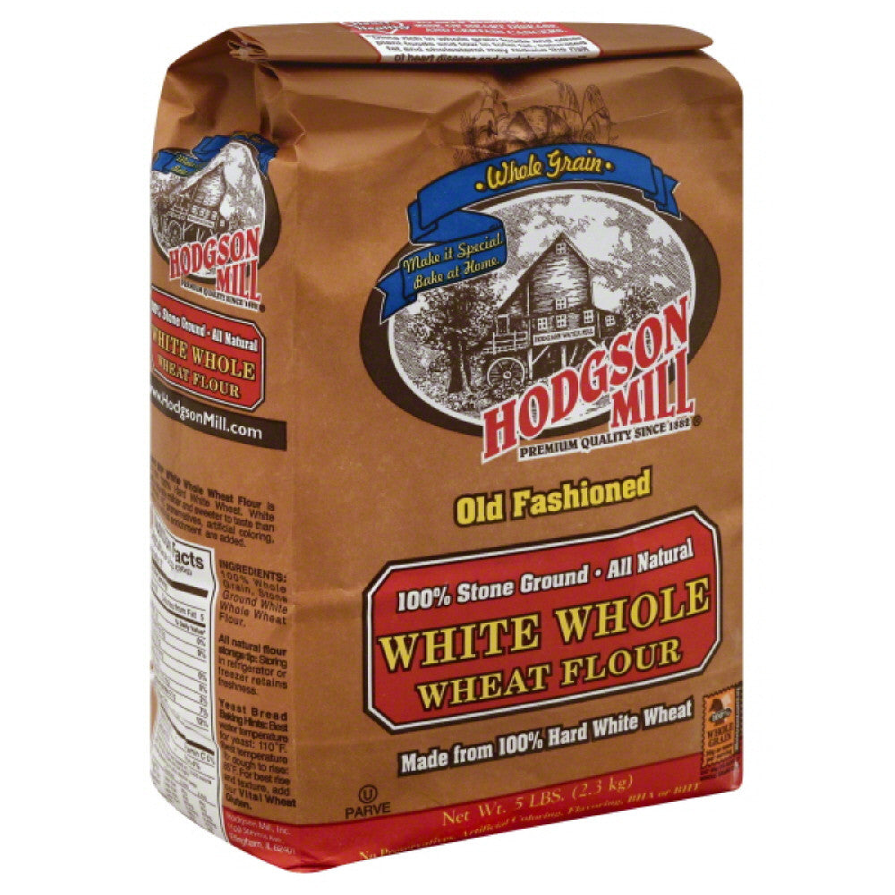 Hodgson Mill Flour White Whole Wheat, 5 Lb (Pack of 6)