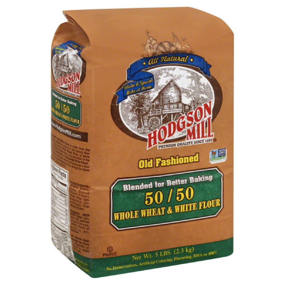 Hodgson Mill Old Fashioned Whole Wheat & White 50/50 Flour, 5 Lb (Pack of 6)