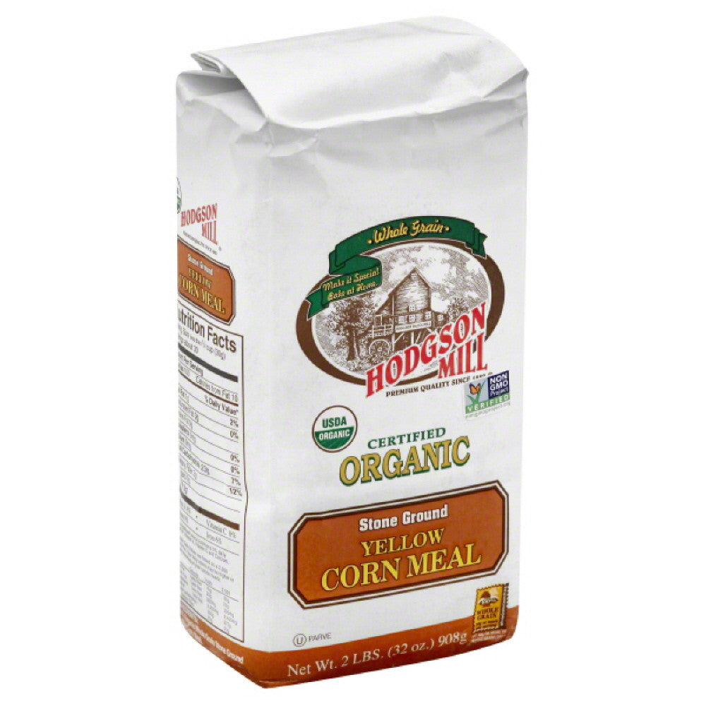 Hodgson Mill Organic Yellow Stone Ground Corn Meal, 32 Oz (Pack of 6)
