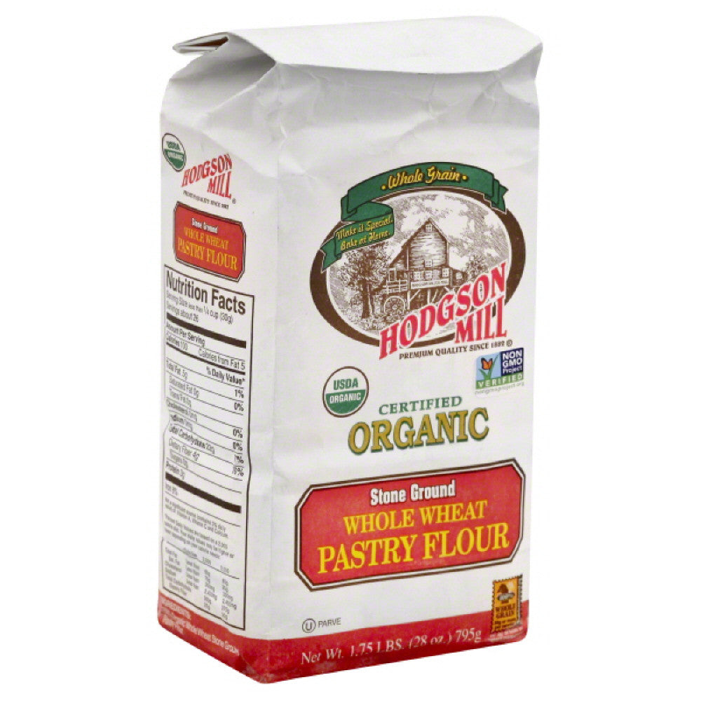 Hodgson Mill Organic Whole Wheat Stone Ground Pastry Flour, 28 Oz (Pack of 6)
