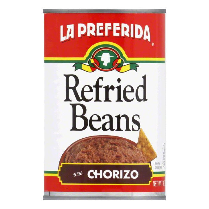 La Preferida Refried Beans Chorizo, 16 OZ (Pack of 12)