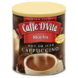 Caffe D Vita Mocha Hot or Iced Cappuccino, 16 Oz (Pack of 6)