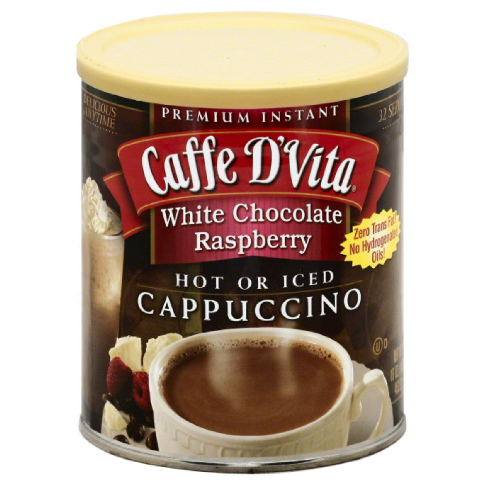 Caffe D Vita White Chocolate Raspberry Premium Instant Cappuccino, 1 Lb (Pack of 6)