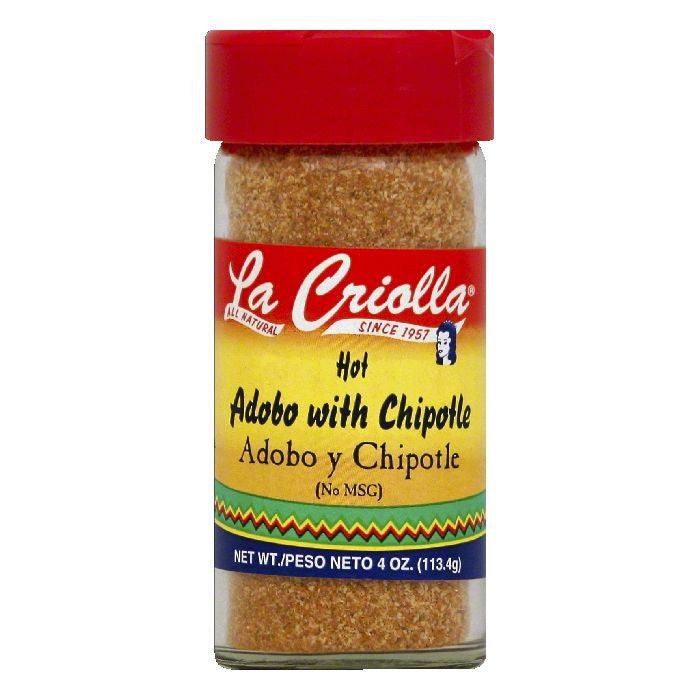 La Criolla Hot Adobo with Chipotle, 4 OZ (Pack of 12)