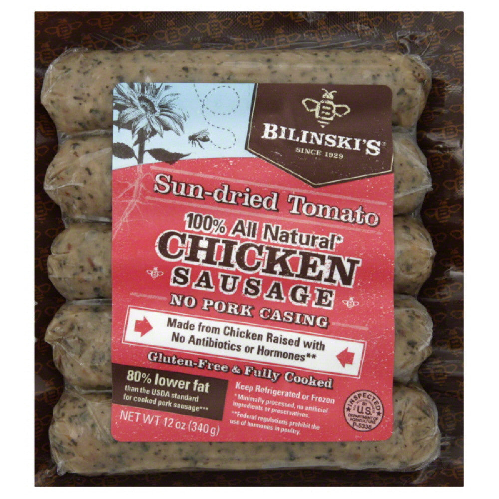 Bilinskis Sun-Dried Tomato Chicken Sausage, 12 Oz (Pack of 8)