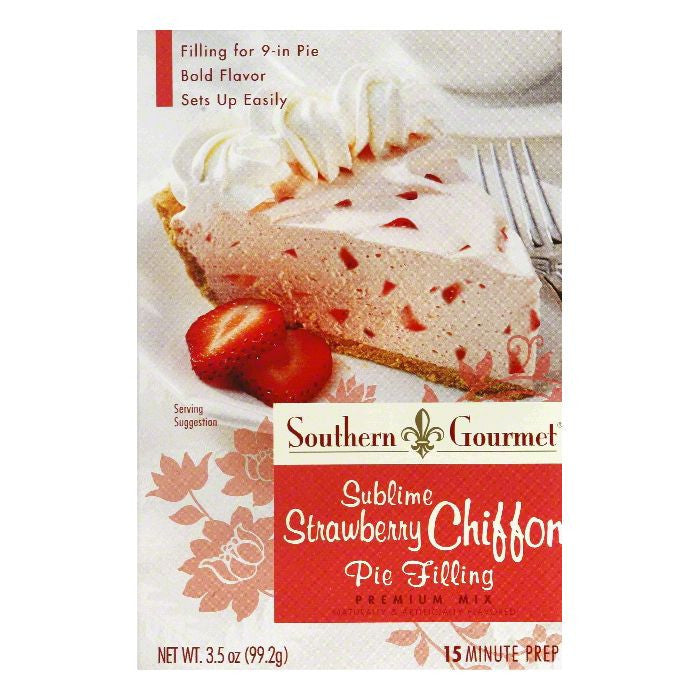 Southern Gourmet Sublime Strawberry Chiffon Premium Pie Filling Mix, 3.5 Oz (Pack of 6)