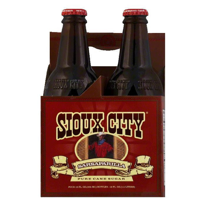 Sioux City Sarsaparilla Soda 4 pack, 12 FO (Pack of 6)